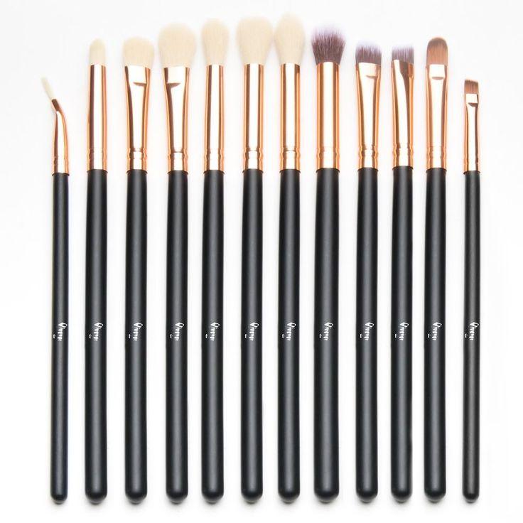 Eye Brush Set Cosmetics Synthetic Eyeliner Eyeshadow Blending Brushes 12 Pcs #EyeBrushCosmetics
