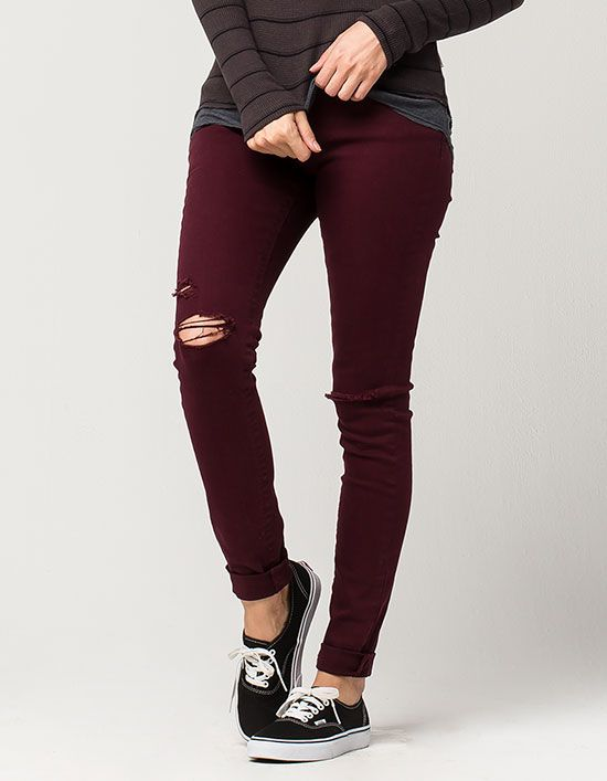 ALMOST FAMOUS PREMIUM Destructed Cuff Womens Skinny Jeans