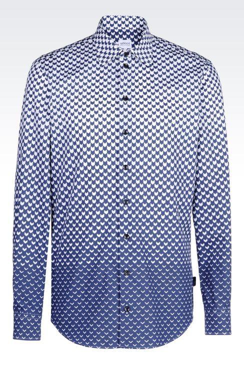POPLIN SHIRT WITH SHADED PRINT: Long sleeve shirts Men by Armani - 1