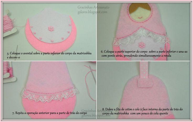 Felt matrioshka tutorial Handmade by Gracinhas Artesanato