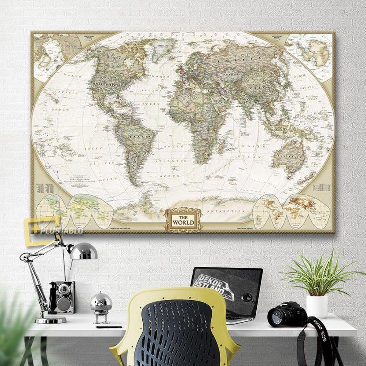 National Geographic 2007 Dünya Haritası Kanvas Tablo