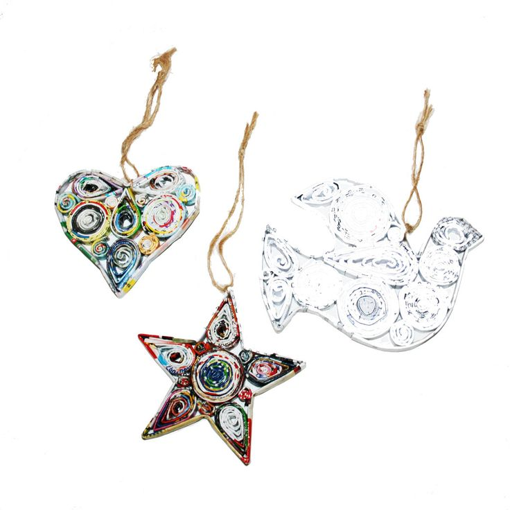 Handmade Recycled Paper Ornaments from Vietnam-Heart, Star and Dove