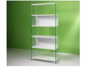 Byblos libreria in vetro - Libreria da 90 cm, con fianchi portanti in vetro temperato da 10 mm e ripiani in laminato da 25 mm  Dimensioni: cm. 60x36x205h  Colori disponibili: Bianco, Olmo tranché  Prodotto interamente realizzato in Italia