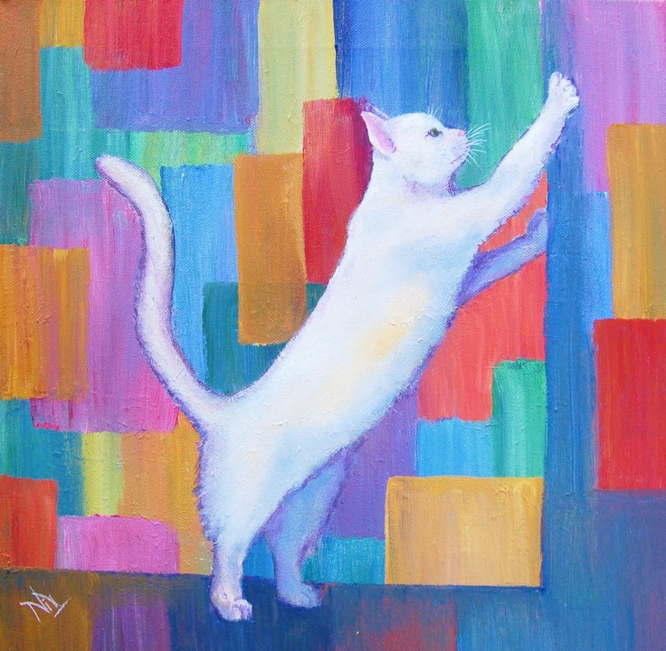 White Cat  Acrylics on Stretched Canvas  40X40cm  $80