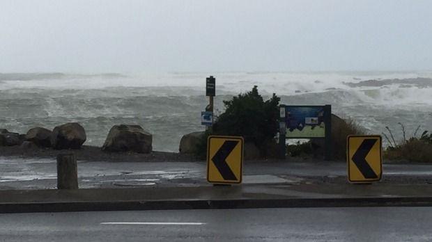 Large waves slam into Wellington's South Coast on Thursday.