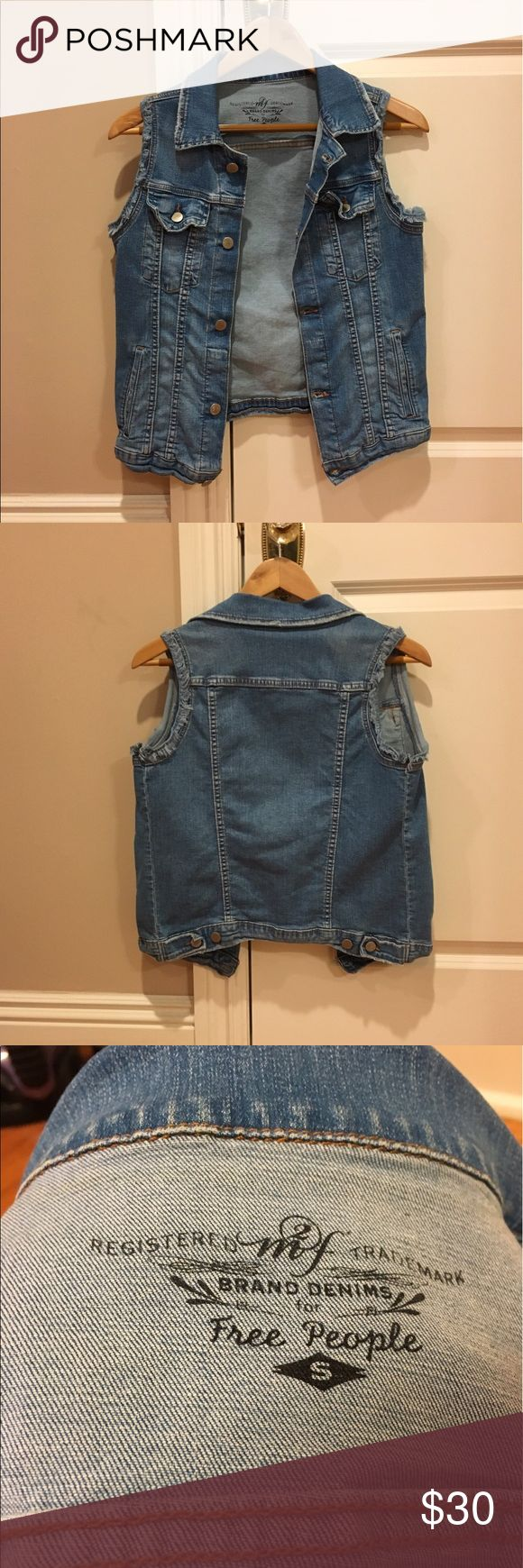 Free People Denim Vest Everyday and versatile denim vest! Super stretchy and comfortable material, only worn a few times! Free People Jackets & Coats Vests
