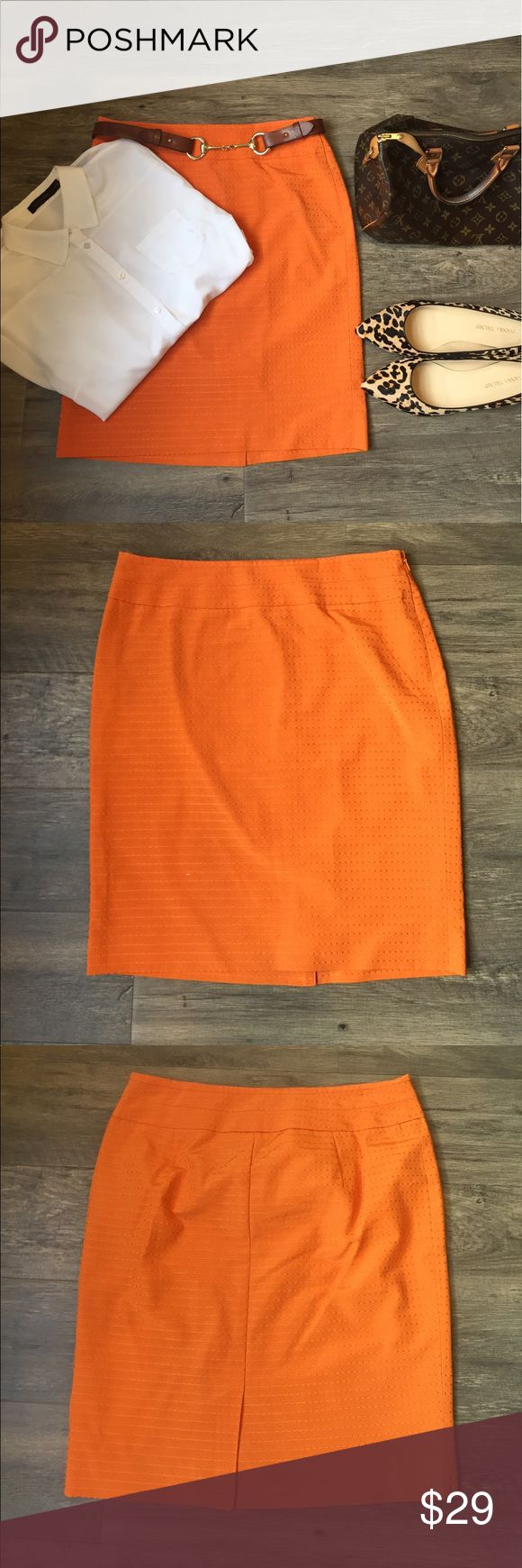 Never worn! Orange pencil skirt. Size 6. Such a sun color for work! Orange pencil skirt in size 6 from The Limited. Never worn! Fully lined, side zipper, and small slit in the back. The Limited Skirts Pencil