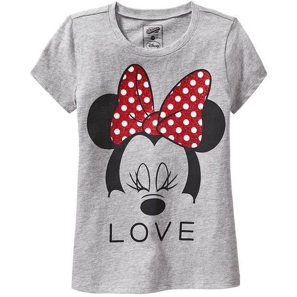 "Old Navy Girls Disney Minnie Mouse ""Love"" Tees - Gray heather ($4.99) ❤ liked on Polyvore featuring baby girl"