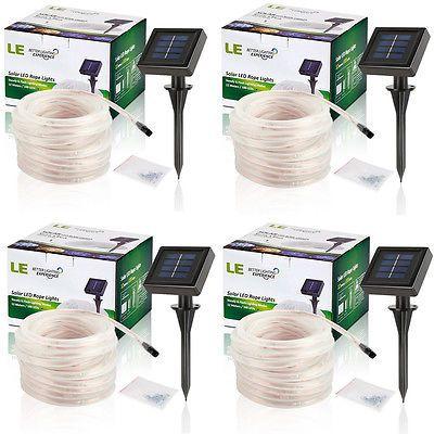 4pcs 33Ft LED Solar Rope Light String Strip+Light Sensor IP55 Outdoor Warm White