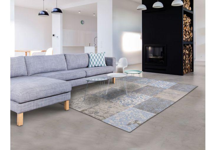 Dywany Very :: Dywan naturalny vintage patchwork 8237 GustavianBlue - błękitno beżowy - Carpets&More - wysokiej klasy dywany i akcesoria tekstylne