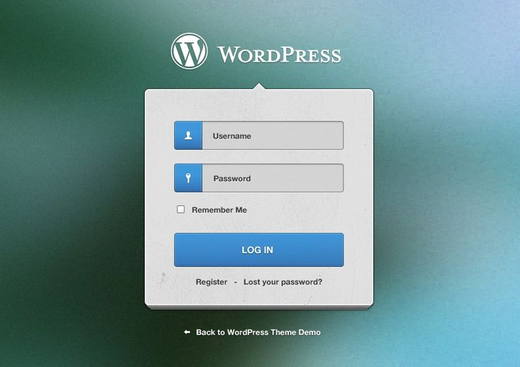 Wordpress Login Screen Widget Design