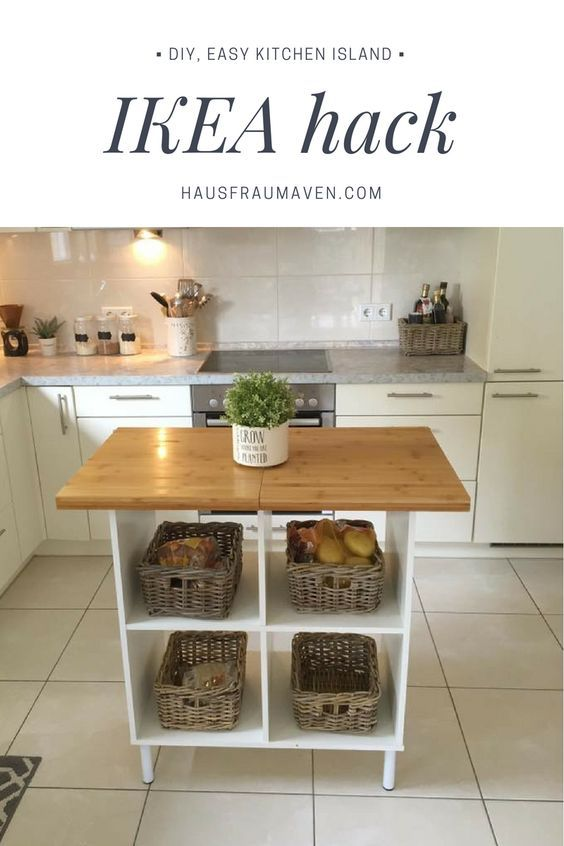 DIY kitchen island Ikea hack...all materials can be purchased from IKEA for $82 to complete this project. All you need is a drill and a glue gun!
