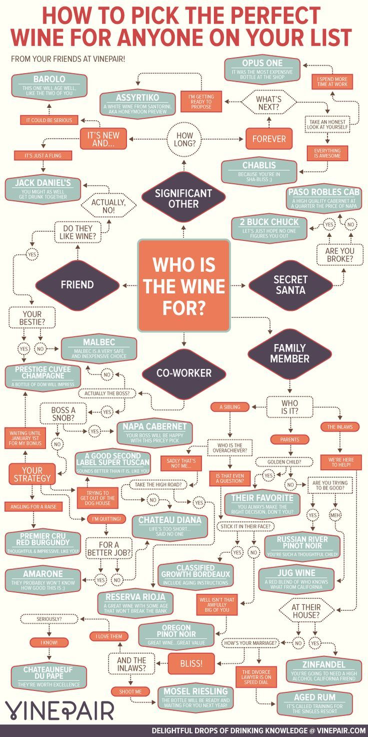 Whether it's going to your co-worker's, brother-in-law's, or Secret Santa party, you can never go wrong with a bottle (or two!) of wine. If you're not a sommolier and need a little nudge in the right direction, look no further. This inforgraphic from our friends at VinePair asks the necessary questions to determine the best bottle for whoever your lucky recipient may be…