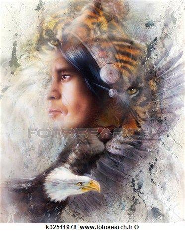 tigre, à, aigle, et, indien, guerrier, et, coiffure, illustration., vie sauvage, animaux, sur, peinture, fond, contact oeil, blanc, noir, brun, couleur Voir Illustration Grand Format