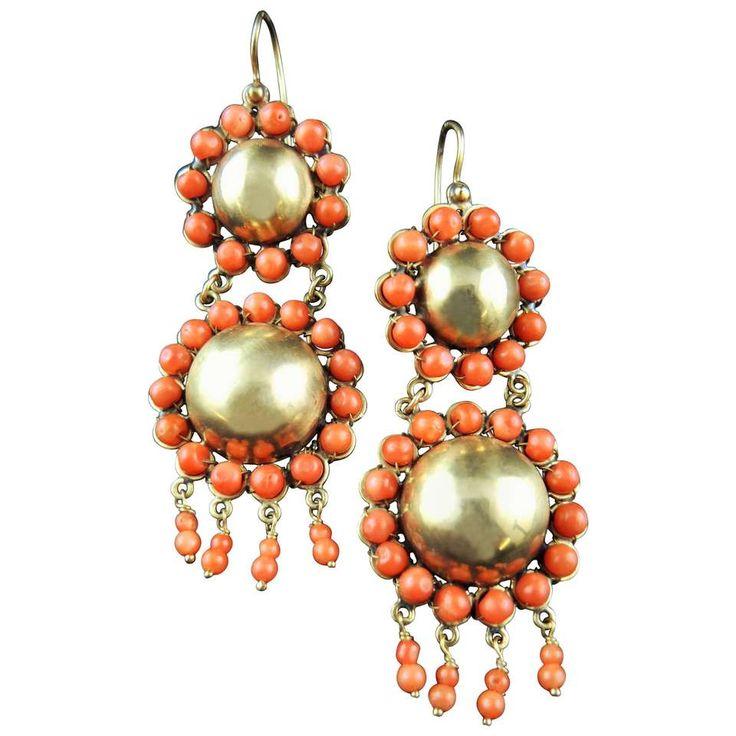Antique Italian Chandelier Coral Earrings 1