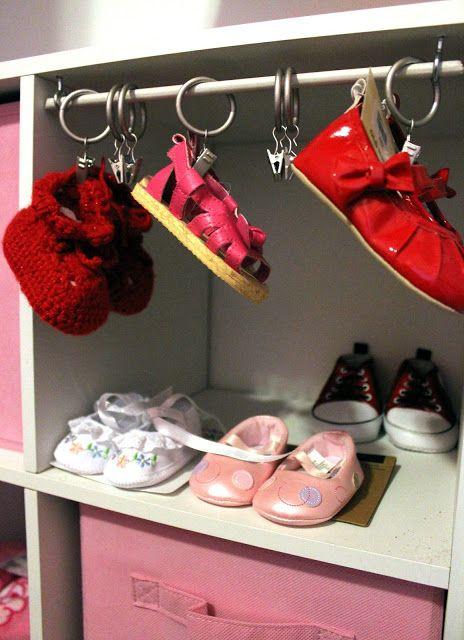 Baby Shoe Storage With Tension Rod, Shower Rings, And Clips