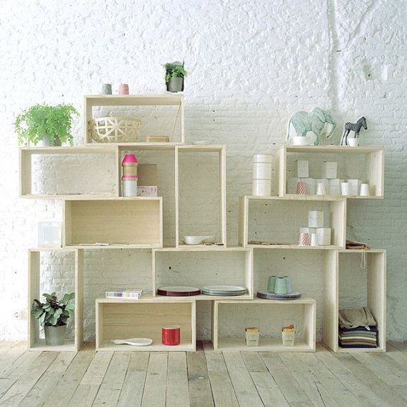 Open shelf shelves shelving bookshelf Modern cube modular stacked tiered storage organization repurposed wood box crate bookcase partition