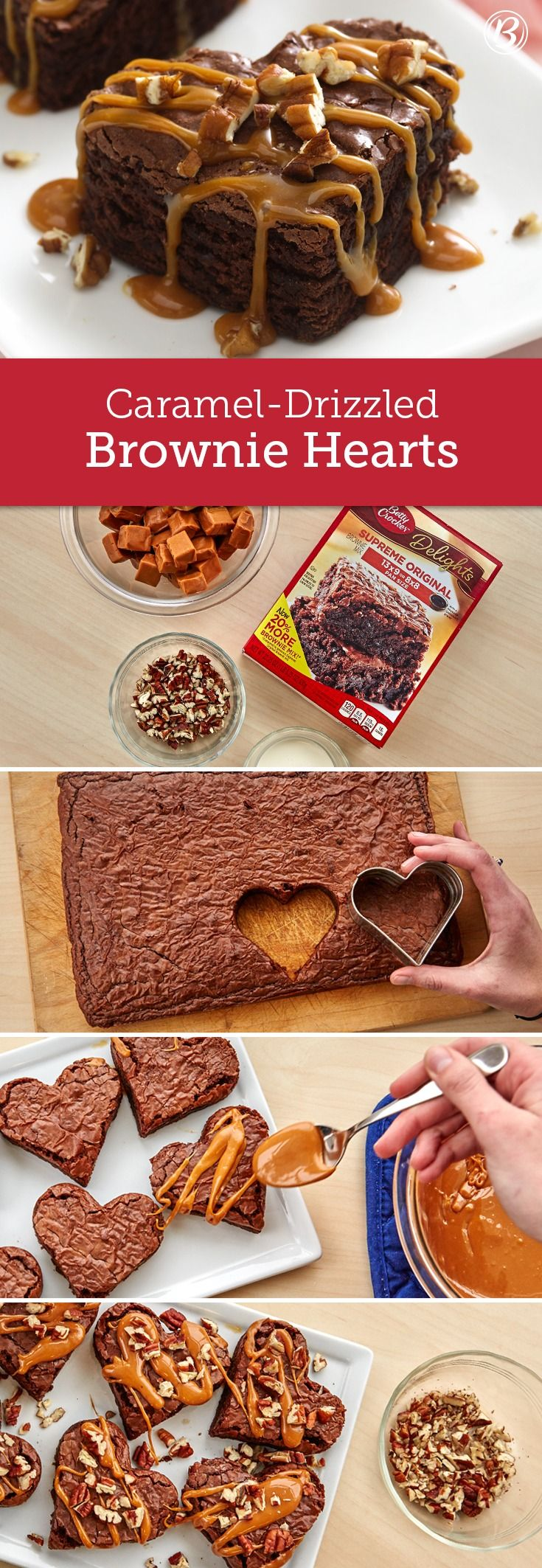 From-a-box brownies get transformed into the perfect homemade Valentine's Day treat. Shaped with a heart cookie cutter, drizzled with gooey caramel and topped with chopped pecans, these brownies couldn't be easier to make (or eat)!