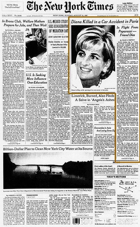On this day (August 31, 1997) Lady Diana and 2 more people were killed in a car crash in France.