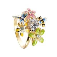 Kranz og Ziegler Flora ring i forgyldt sølv med blomster