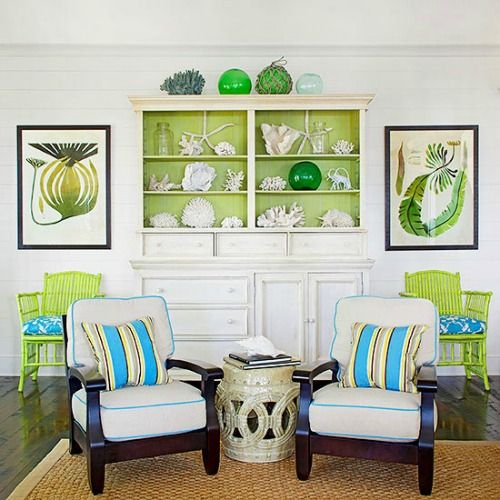 Painting the back of a book case: http://www.completely-coastal.com/2016/05/lime-green-decor.html In this case, it's bright and vibrant lime green!