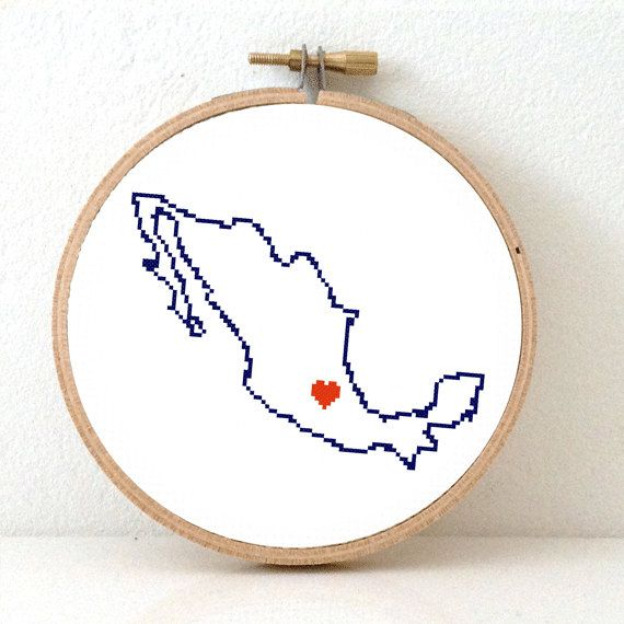 Mexico Map Cross Stitch Pattern. Save the date Mexico por koekoek