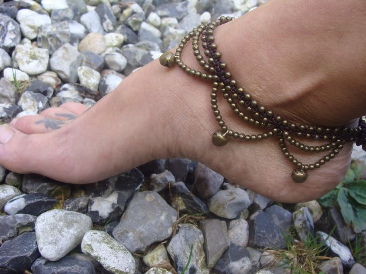 Inspiration: India..A gypsy macrame beaded anklet which I hand knotted with brown macrame cord and I used tiny Brass beads and bells to give a musical touc