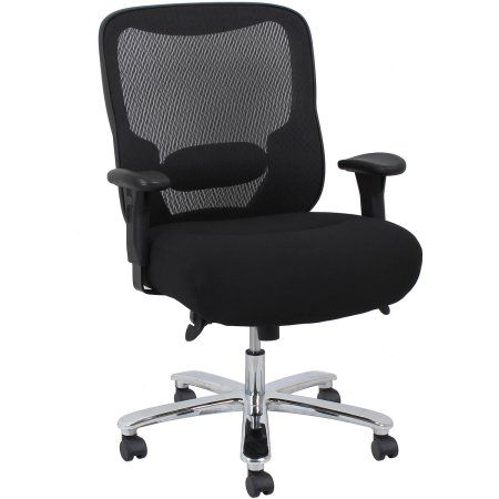 OFM Essentials Big and Tall Swivel Mesh Office Chair with Arms, Black/Chrome