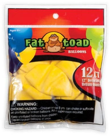 """12"""" Fat Toad Yellow Balloons - 12 count - 24 Units"""