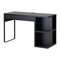 MICKE Desk with integrated storage - black-brown - IKEA
