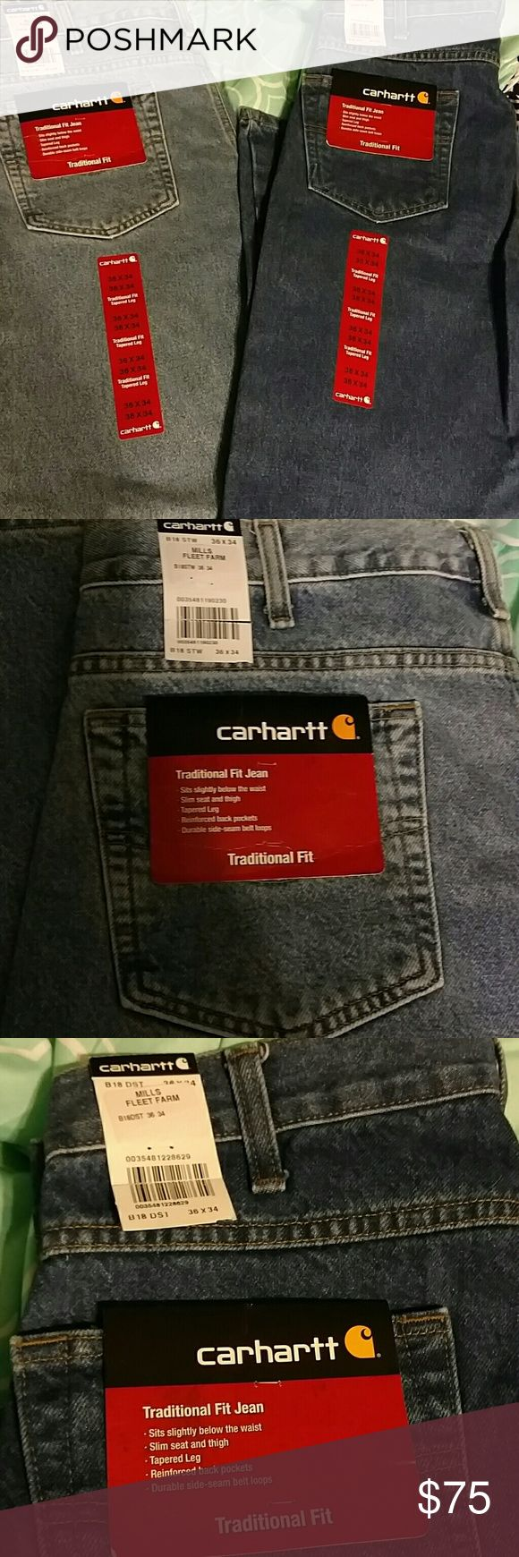 Mens Carhartt Jean's 2 pair men's Carhartt Jean's. Size 36x34. One light color, one dark color. Carhartt Jeans