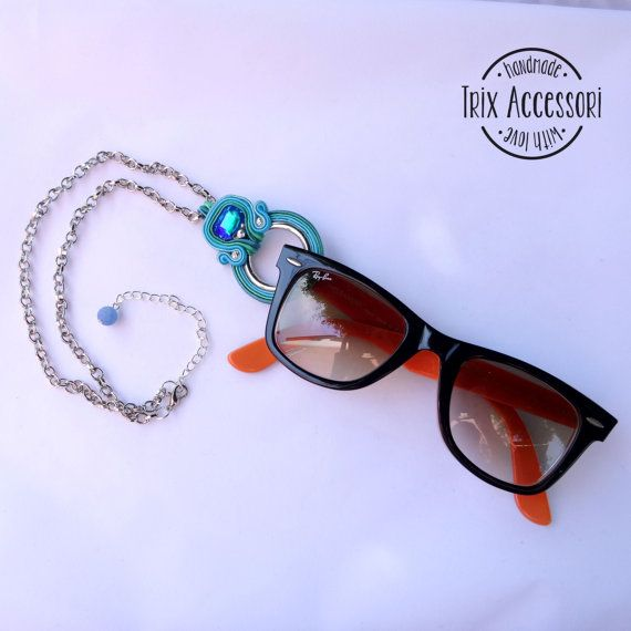 """Soutache necklace """"Fanny"""", Handmade pendant for sunglasses, Hand Embroidered, Soutache Jewelry, Handmade Italy, OOAK, peacock blue, teal"""