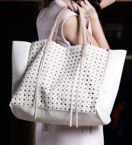 TOTE LATTICE LEATHER BAG IN DARK BROWN - CALLISTA CRAFTS - Brands