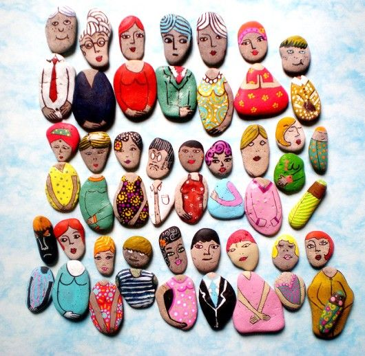 """Cute, looks like painted rocks for different heads and bodies. Would be fun on the fridge. I can just imagine the """"stories"""" we could tell with these! :)"""