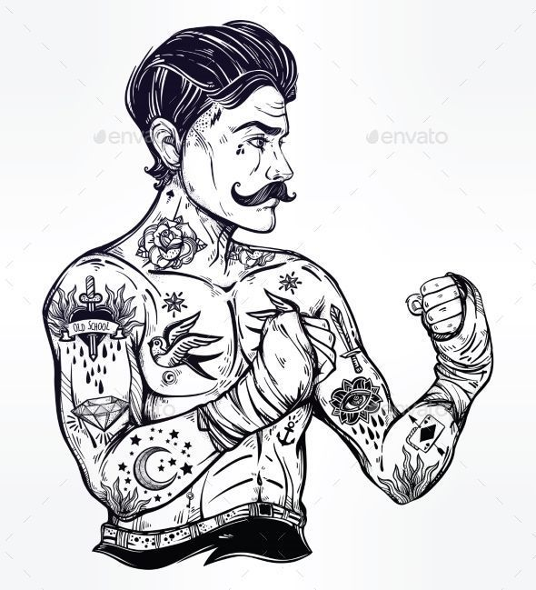 Reasons Why It S Awesome To Get A Tattoo Hand Drawn Tattooed Sailor Boxer Fighter Player In Vintage In 2020 Vintage Tattoo Old School Tattoo Designs Tattoo Posters