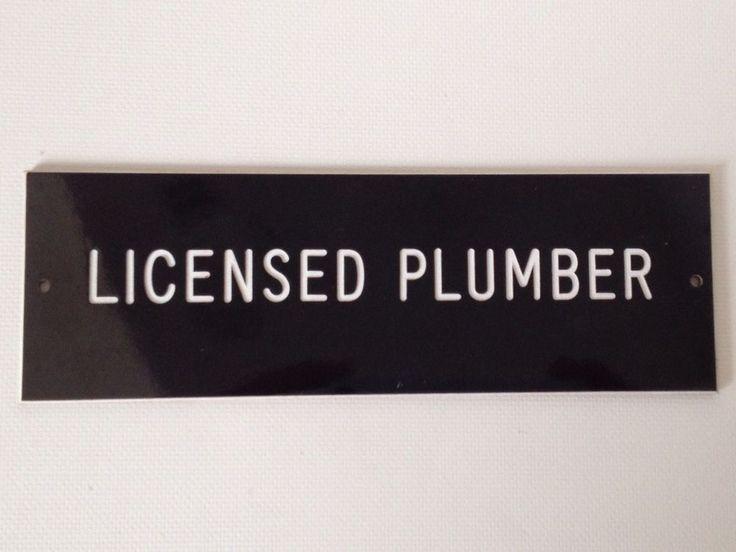 """Licensed Plumber Door Sign 6"""" x 2"""" Desk Top Tool Box #Plumbing"""