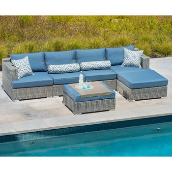 Niko 6 Piece Modular Seating Set In Slate By Sirio™. Wicker Patio FurnitureYard  ...