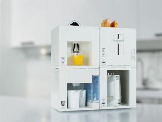 designerJan des Bouvrie and Dutch manufacturer Princess came up with Compact4All – a kitchen appliance system that incorporates all kitchen basics within the span of 16 inches. The items are stacked on top of each other, producing a uni-piece. The system includesa juicer, toaster, coffee maker and tea kettle. Each segment can be detached and used individually,but when fit together the quartet can share one outlet.