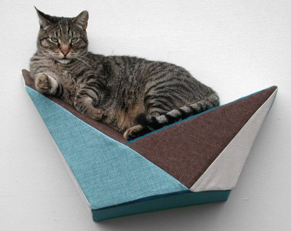 Cat Shelf Wall Bed by Like Kittysville \\\ $97 A sculpted, geometric box lets your cat rest or use it as a launching pad.