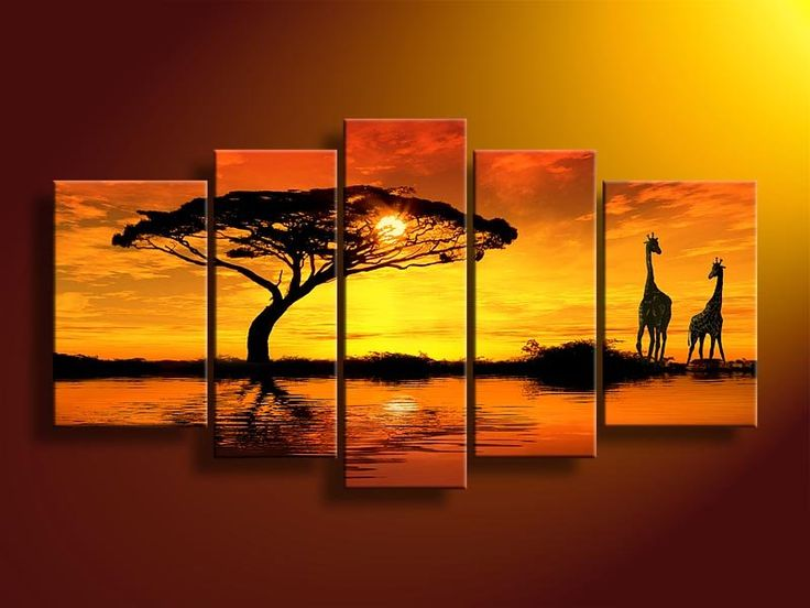 hand-painted wall art African Water giraffe  Home Decoration Modern Landscape Oil Painting on canvas  5pcs/set mixorde Framed US $49.89