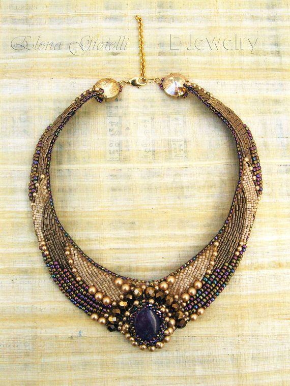 OOAK bead embroidered statement bib necklace choker, prom, bridesmaid, coctail, with amethyst gemstone, in beige.
