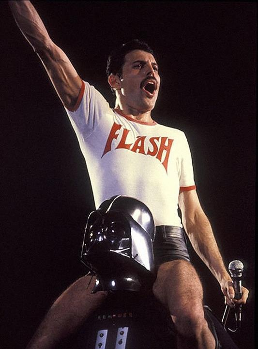 Getting pumped for this Queen concert!Freddie riding Vader....