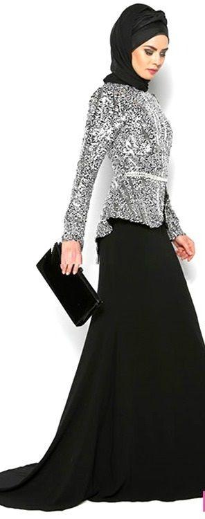 Favore Siyah-Beyaz Pul Payet Abiye Elbise