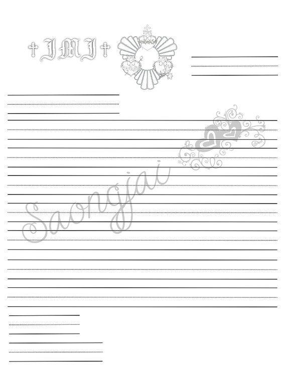 Catholic Kids Ruled Line Stationary Printable PDF by SaongJai