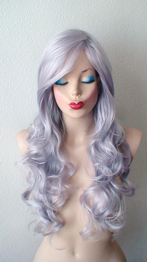 Silver wig. Lavender Silver color Long volume curly by kekeshop
