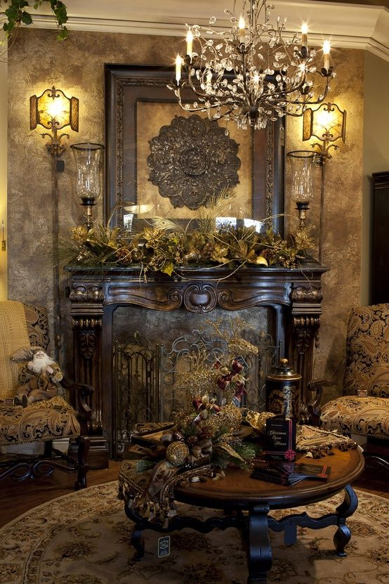 Furniture And Accessories. Classic Contemporary Christmas Living Room  Mantel In Luxurious Design Matching To The Room Elegant Brown Scheme. Part 62