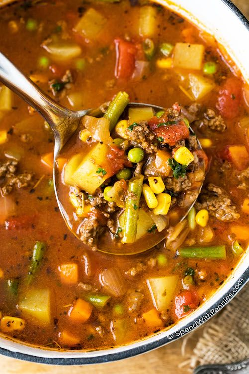 Hamburger Soup is a quick and easy meal loaded with vegetables, lean beef, diced tomatoes and potatoes. It's great made ahead of time, reheats well and freezes perfectly.
