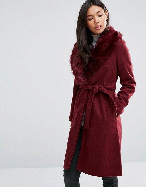 QED London | Пальто с поясом и отделкой искусственным мехом QED London