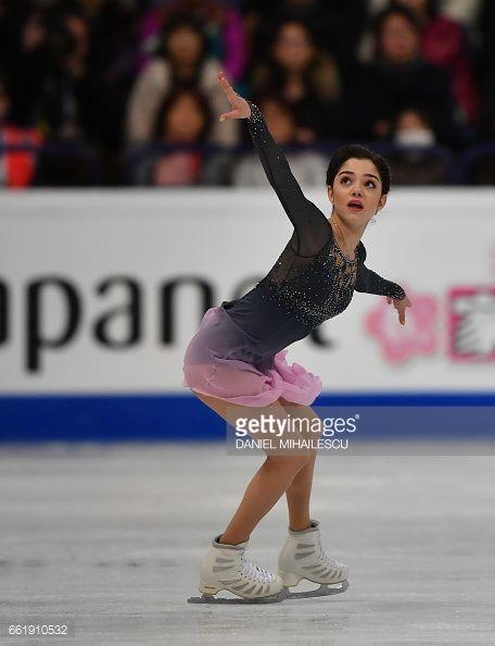 Gold medal winner Evgenia Medvedeva perform during the women's free skating program of ISU World Figure Skating Championships 2017 in Helsinki March 31, 2017. / AFP PHOTO / Daniel MIHAILESCU (Photo credit should read DANIEL MIHAILESCU/AFP/Getty Images)