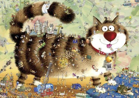 CAT'S LIFE No. of pieces: 1000 Size: 70 x 50 cm Artist: Marino Degano